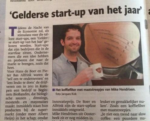 LEKKER koffiefilter met maatstreep in de Gelderlander 2014